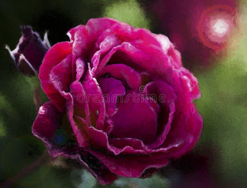 Ο κόκκινος Don Juan αυξήθηκε άνθος που χρωματίστηκε ψηφιακά στοκ φωτογραφία με δικαίωμα ελεύθερης χρήσης