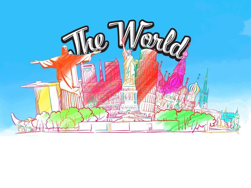 Ο κόσμος, διάσημα χρωματισμένα κτήρια απεικόνιση αποθεμάτων