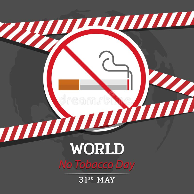 Ο κόσμος κανένα έμβλημα ημέρας καπνών με το έμβλημα απαγόρευσης του καπνίσματος και κόκκινος κίνδυνος προειδοποιεί το διανυσματικ διανυσματική απεικόνιση
