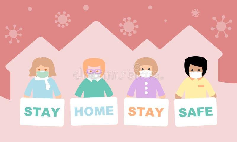 Ο κόσμος κρατά το σήμα του. Μείνετε σπίτι ασφαλείς. απεικόνιση αποθεμάτων