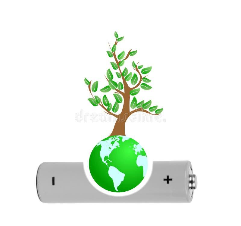 Ο κόσμος παίρνει την ενέργεια από το δέντρο στοκ εικόνα