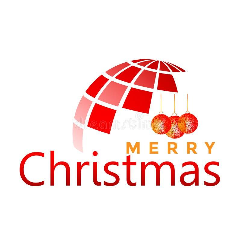 Ο κόσμος σφαιρών και Χαρούμενα Χριστούγεννας και το κείμενο χαιρετισμού σχεδιάζουν στο κόκκινο χρωματισμένο εικονίδιο στο αφηρημέ απεικόνιση αποθεμάτων