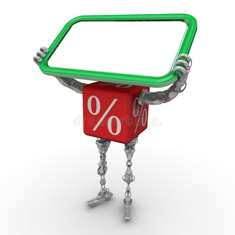 Ο κύβος με το σύμβολο τοις εκατό υπό μορφή cyborg κρατά έναν πίνακα πληροφοριών απεικόνιση αποθεμάτων