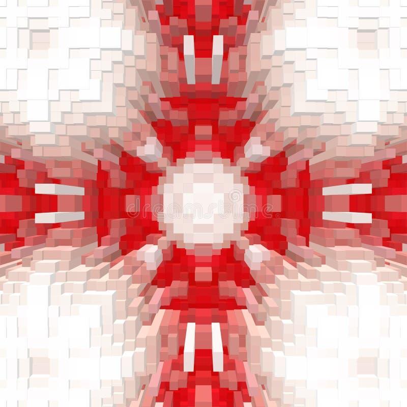 Ο κύβος τρισδιάστατος εξωθεί το υπόβαθρο συμμετρίας, άνευ ραφής γραφικός διανυσματική απεικόνιση