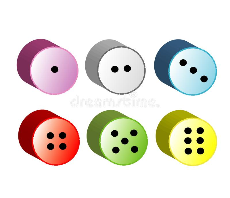 Ο κύκλος χωρίζει σε τετράγωνα, κουμπιά διανυσματική απεικόνιση