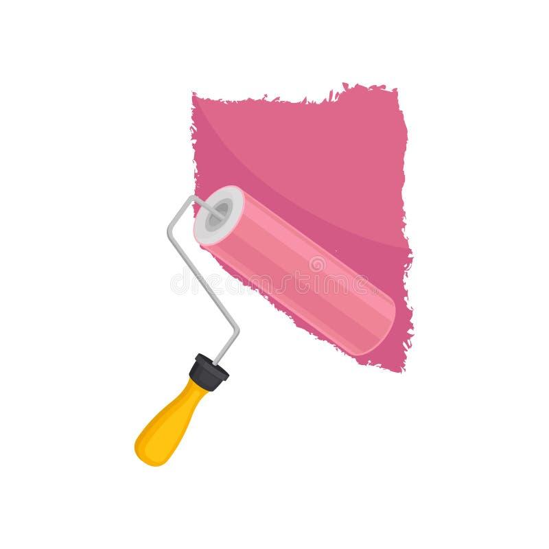 Ο κύλινδρος χρωματίζει τον τοίχο E ελεύθερη απεικόνιση δικαιώματος