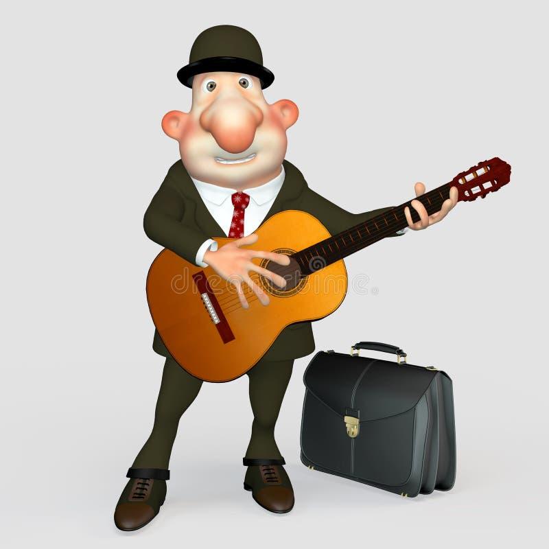 Ο κύριος με μια κιθάρα. Μουσικός. διανυσματική απεικόνιση