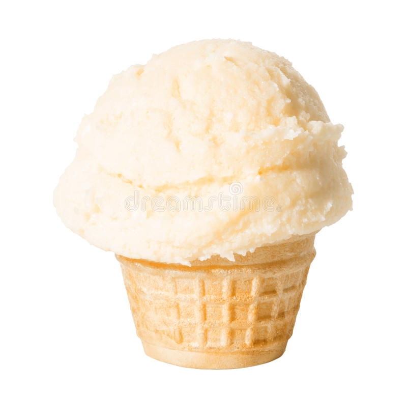 Ο κώνος, φλυτζάνι βαφλών με το παγωτό βανίλιας είναι απομονωμένος στη λευκιά ΤΣΕ στοκ εικόνες