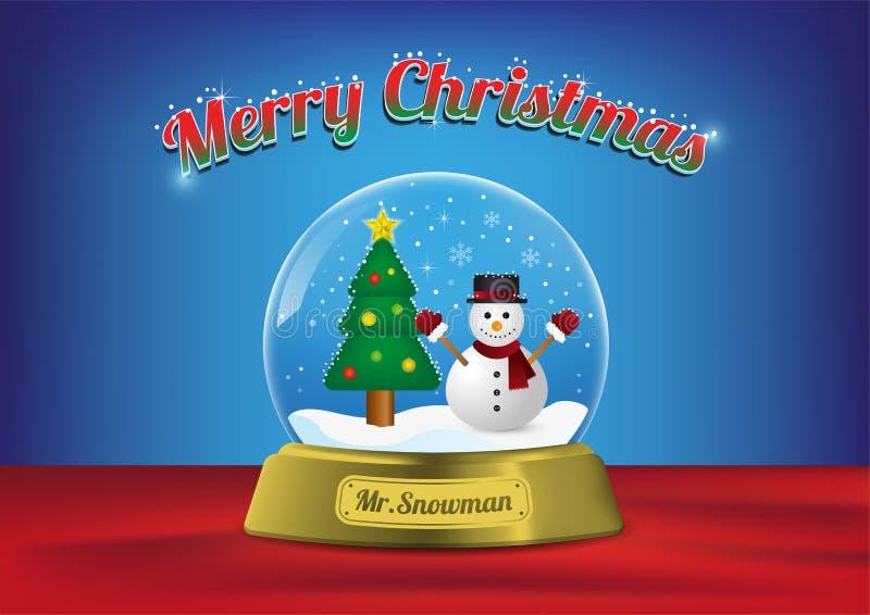Ο κ. σφαιρών Χαρούμενα Χριστούγεννας διάνυσμα δέντρων χιονανθρώ& ελεύθερη απεικόνιση δικαιώματος