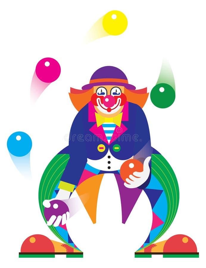 Ο κλόουν κάνει ταχυδακτυλουργίες τις σφαίρες στο τσίρκο διανυσματική απεικόνιση