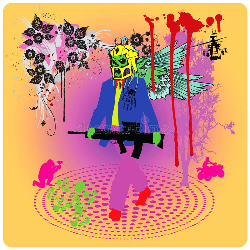 ο κ. psychedelic πόλεμος διανυσματική απεικόνιση