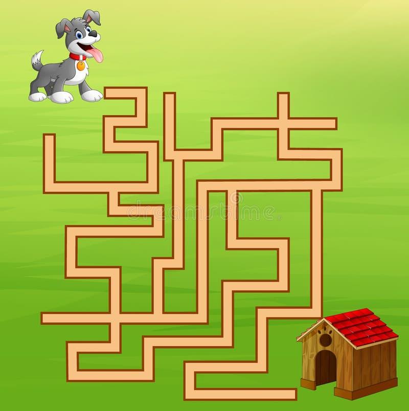Ο λαβύρινθος σκυλιών παιχνιδιού βρίσκει τον τρόπο στο σπίτι ελεύθερη απεικόνιση δικαιώματος