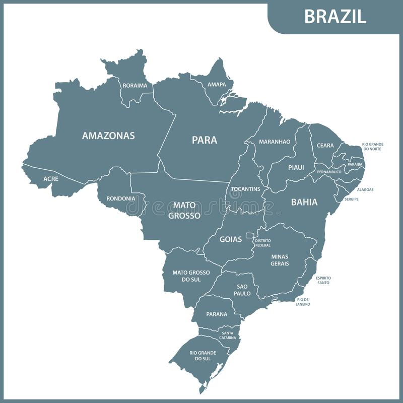 Ο λεπτομερής χάρτης της Βραζιλίας με τις περιοχές ή τα κράτη απεικόνιση αποθεμάτων