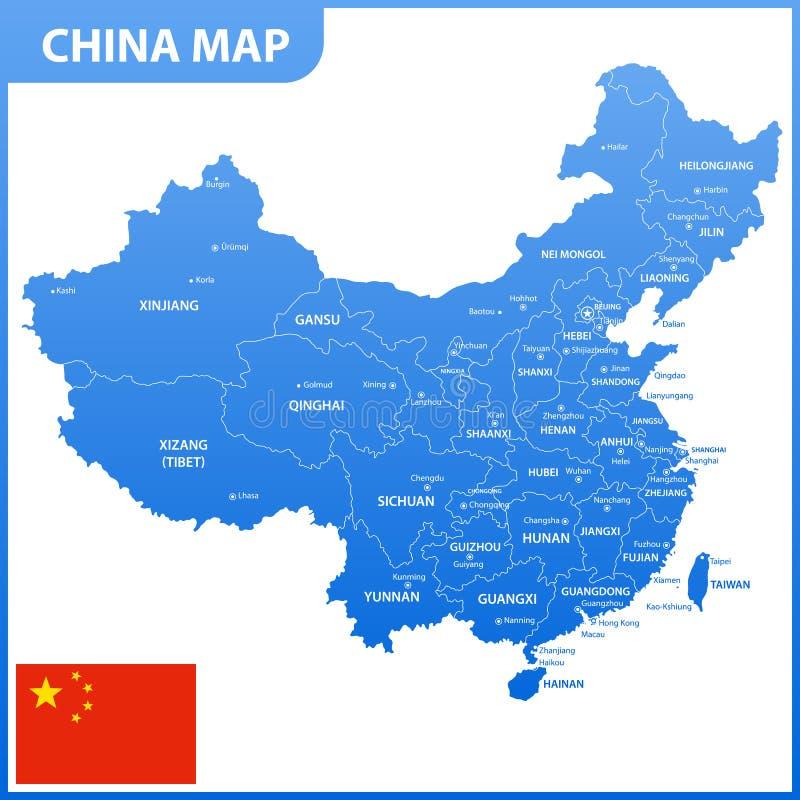 Ο λεπτομερής χάρτης της Κίνας με τις περιοχές ή τα κράτη και τις πόλεις, κεφάλαια, εθνική σημαία διανυσματική απεικόνιση