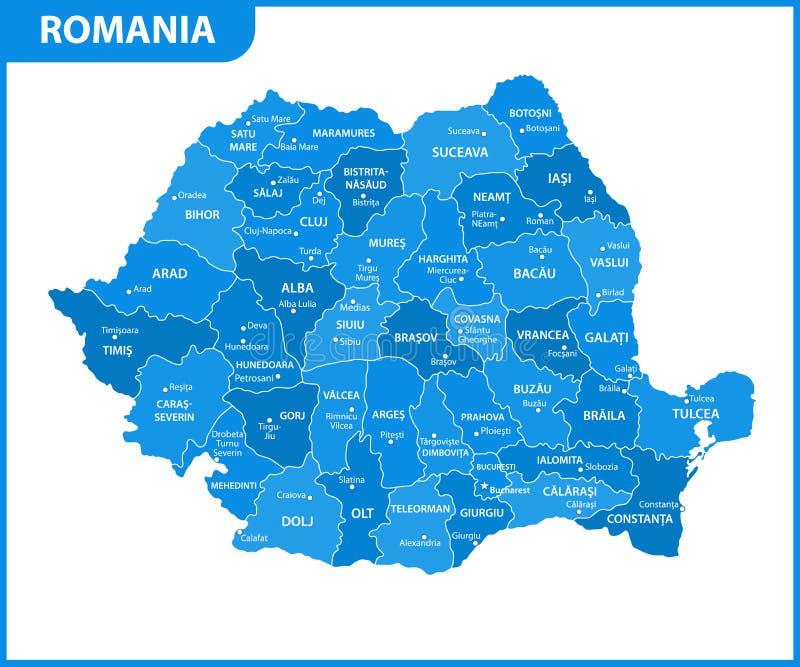 Ο λεπτομερής χάρτης της Ρουμανίας με τις περιοχές ή τα κράτη και τις πόλεις, κεφάλαιο Διοικητικό τμήμα απεικόνιση αποθεμάτων
