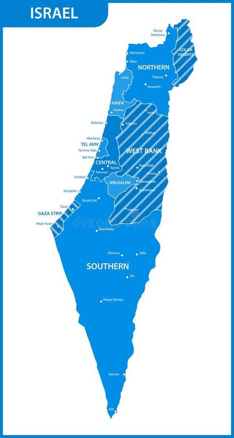 Ο λεπτομερής χάρτης του Ισραήλ με τις περιοχές ή τα κράτη και τις πόλεις, κεφάλαια διανυσματική απεικόνιση