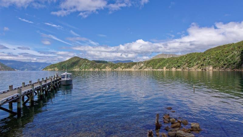 Ο λιμενοβραχίονας βαρκών στο νησί Maud, ήχοι Marlborough στοκ φωτογραφίες