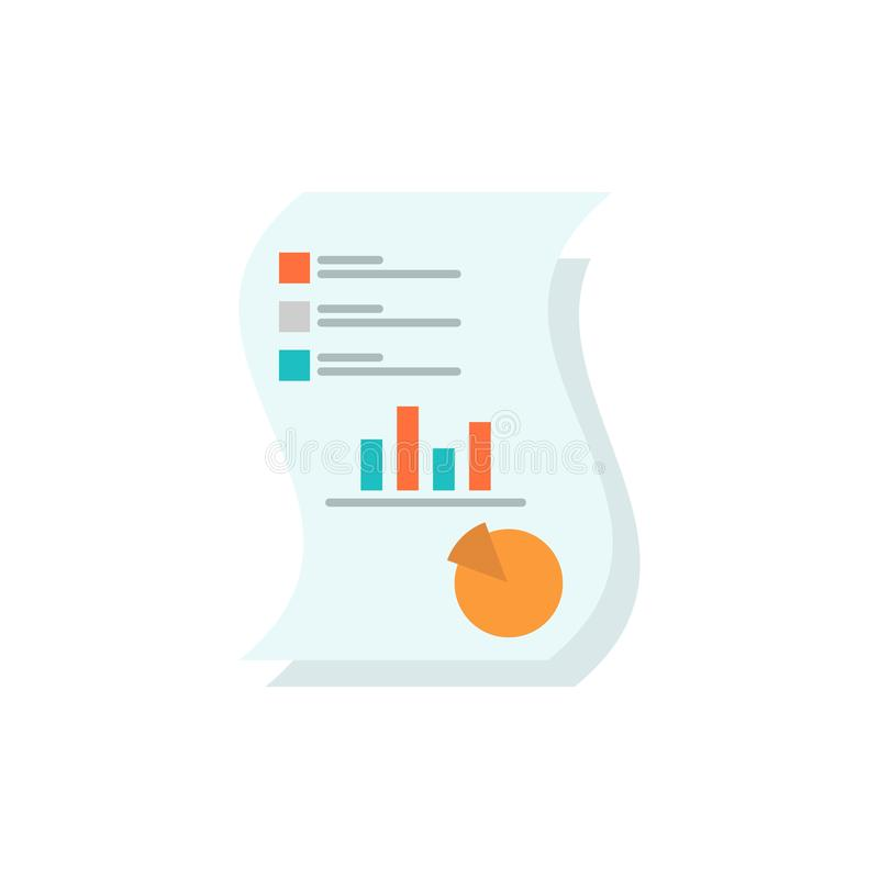 Ο λογιστικός έλεγχος, Analytics, επιχείρηση, στοιχεία, μάρκετινγκ, έγγραφο, εκθέτει το επίπεδο εικονίδιο χρώματος Διανυσματικό πρ ελεύθερη απεικόνιση δικαιώματος