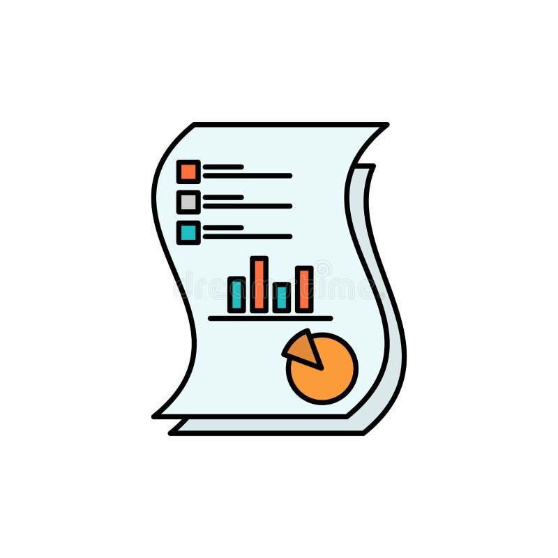 Ο λογιστικός έλεγχος, Analytics, επιχείρηση, στοιχεία, μάρκετινγκ, έγγραφο, εκθέτει το επίπεδο εικονίδιο χρώματος Διανυσματικό πρ διανυσματική απεικόνιση