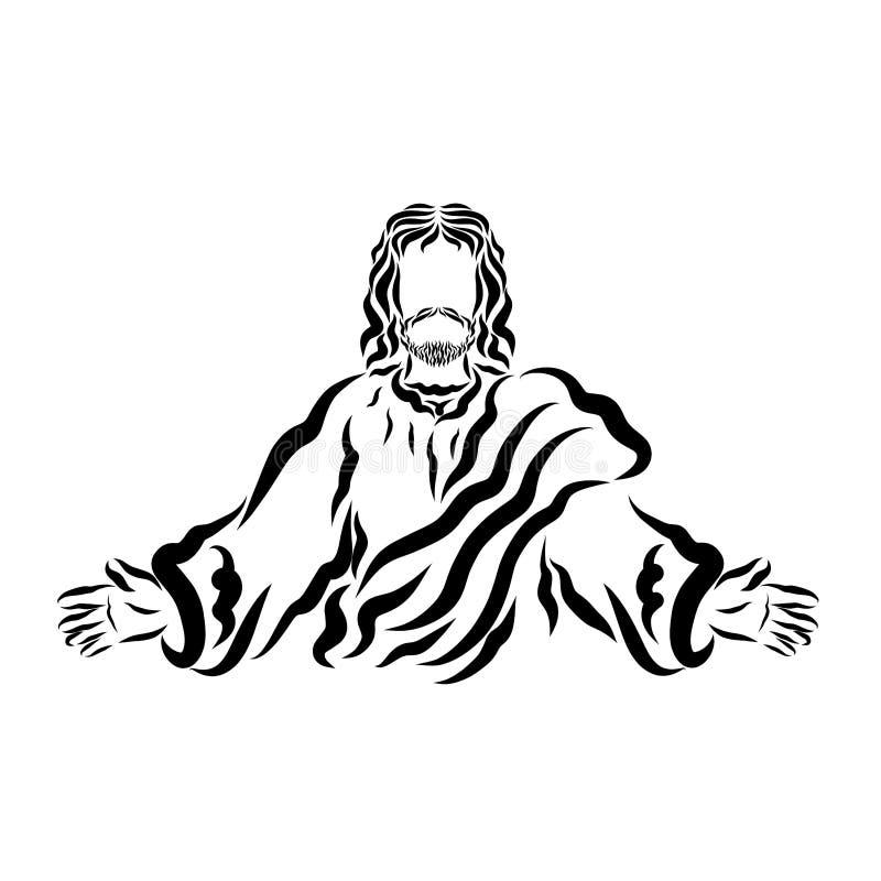 Ο Λόρδος Ιησούς ευλογεί ή καλεί τους ανθρώπους διανυσματική απεικόνιση