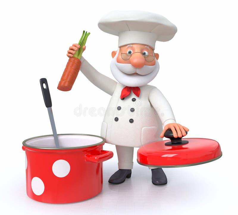 Ο μάγειρας με ένα τηγάνι και μια κουτάλα ελεύθερη απεικόνιση δικαιώματος