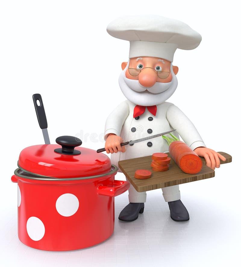 Ο μάγειρας με ένα τηγάνι και μια κουτάλα διανυσματική απεικόνιση