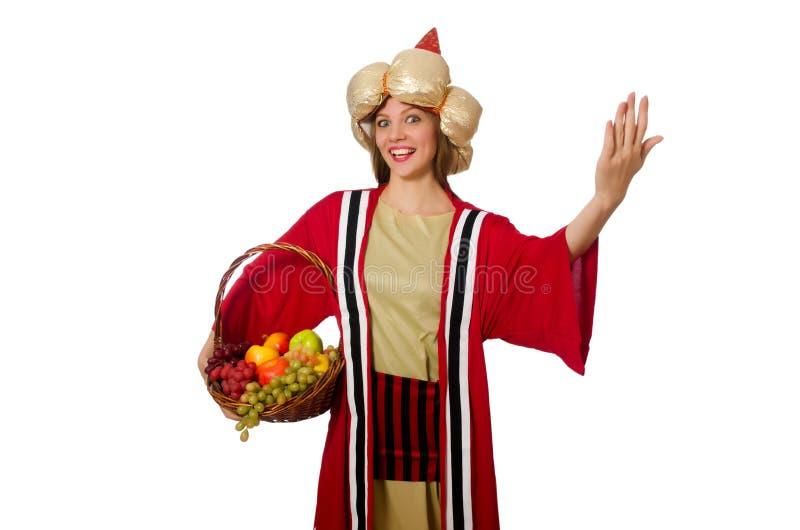 Ο μάγος γυναικών ιματισμό που απομονώνεται στον κόκκινο στο λευκό στοκ φωτογραφία