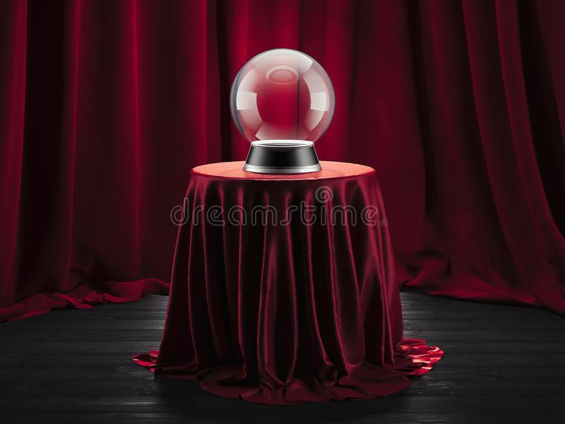 Ο μαγικός αφηγητής τύχης σφαιρών στον πίνακα κάλυψε το κόκκινο ύφασμα, τρισδιάστατη απόδοση στοκ φωτογραφία με δικαίωμα ελεύθερης χρήσης