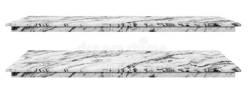 Ο μαρμάρινος πίνακας, αντίθετη τοπ άσπρη επιφάνεια, πέτρινη πλάκα για τα προϊόντα επίδειξης που απομονώνονται στο άσπρο υπόβαθρο  στοκ φωτογραφία με δικαίωμα ελεύθερης χρήσης
