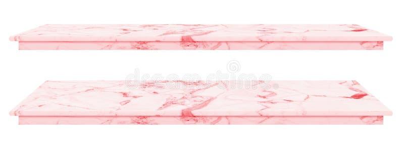 Ο μαρμάρινος πίνακας, αντίθετη τοπ ρόδινη επιφάνεια, πέτρινη πλάκα για τα προϊόντα επίδειξης που απομονώνονται στο άσπρο υπόβαθρο στοκ εικόνες