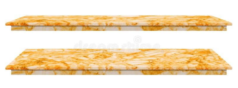 Ο μαρμάρινος πίνακας, αντίθετη τοπ χρυσή επιφάνεια, πέτρινη πλάκα για τα προϊόντα επίδειξης που απομονώνονται στο άσπρο υπόβαθρο  στοκ φωτογραφίες με δικαίωμα ελεύθερης χρήσης