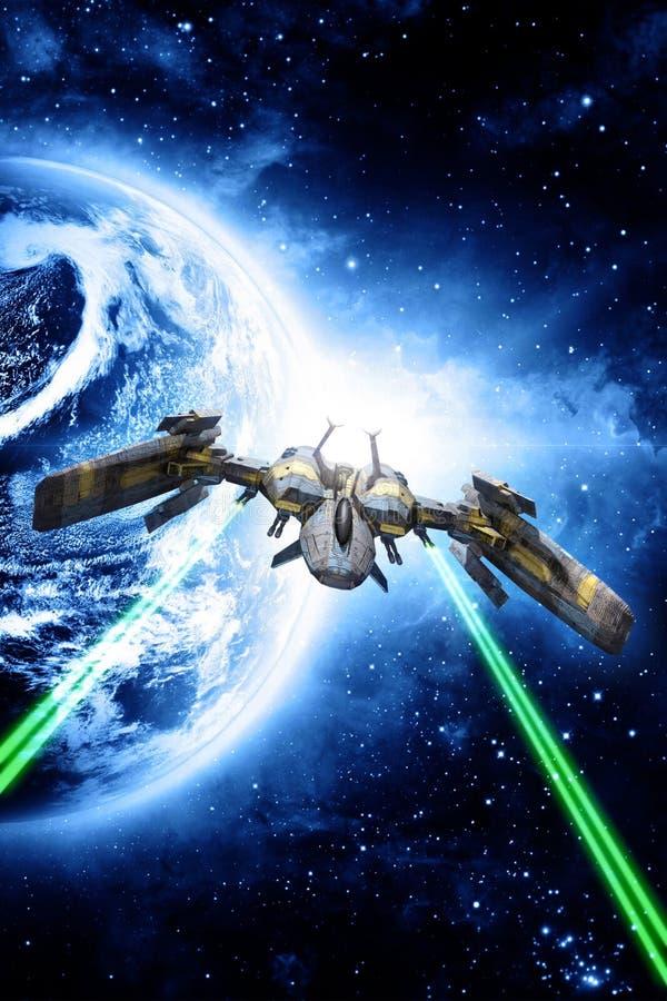 Ο μαχητής διαστημοπλοίων ανοίγει πυρ διανυσματική απεικόνιση