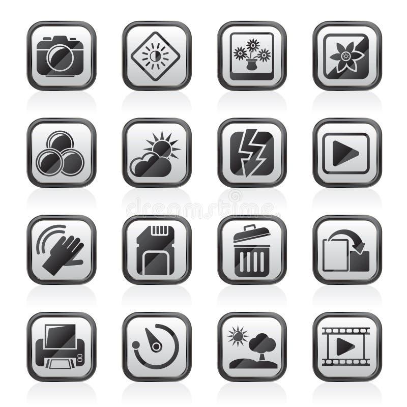 Ο Μαύρος εικονίδια λειτουργίας μιας άσπρης φωτογραφίας και καμερών ελεύθερη απεικόνιση δικαιώματος