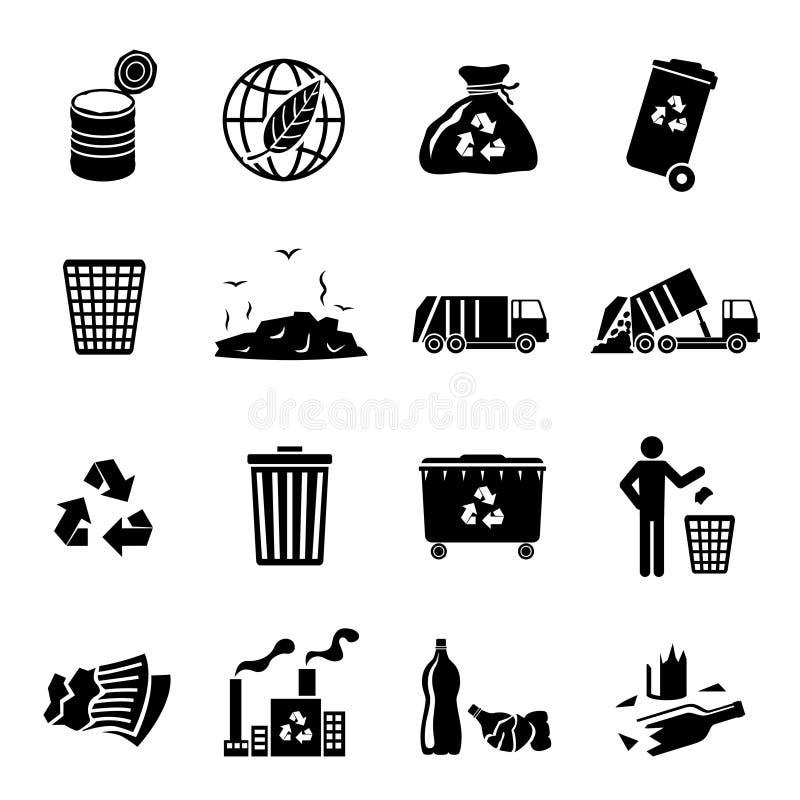 Ο Μαύρος εικονιδίων απορριμάτων διανυσματική απεικόνιση