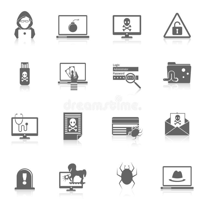 Ο Μαύρος εικονιδίων χάκερ ελεύθερη απεικόνιση δικαιώματος