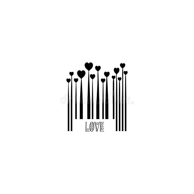 Ο μαύρος κώδικας φραγμών με τις μορφές καρδιών για την αγάπη ημέρας βαλεντίνων σχεδιάζει τις μονοχρωματικές καρδιές ανάπτυξης, γρ διανυσματική απεικόνιση
