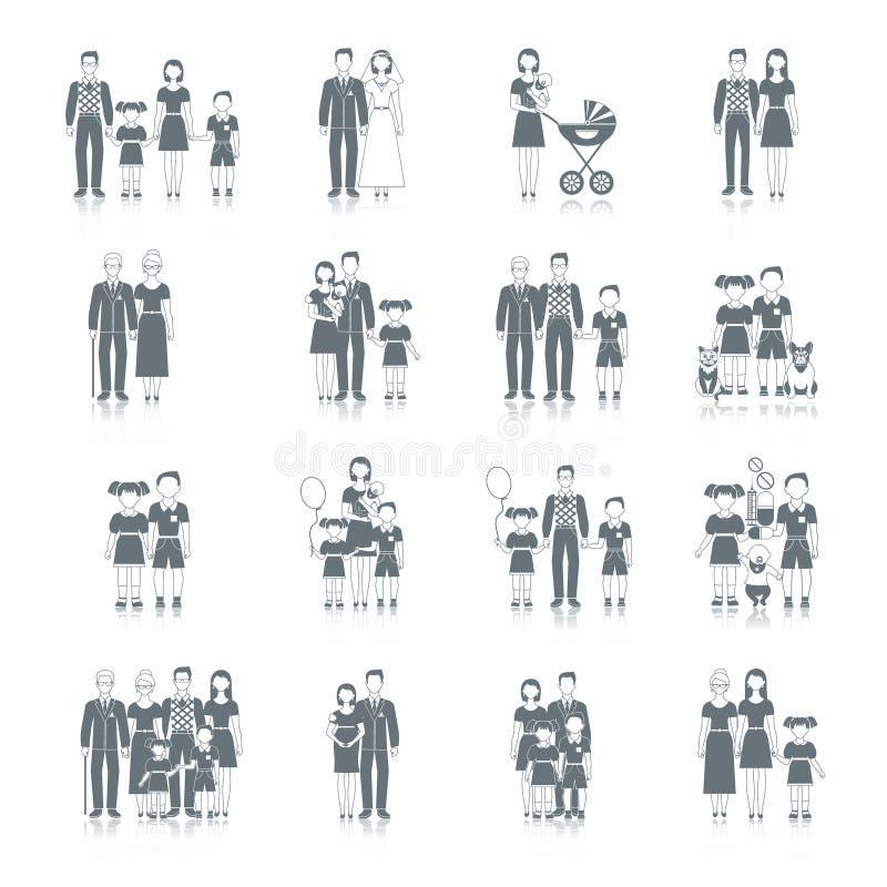 Ο Μαύρος οικογενειακών εικονιδίων ελεύθερη απεικόνιση δικαιώματος