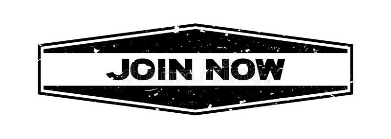 Ο Μαύρος Grunge ενώνει τώρα τη hexagon σφραγίδα λέξης στο άσπρο υπόβαθρο ελεύθερη απεικόνιση δικαιώματος