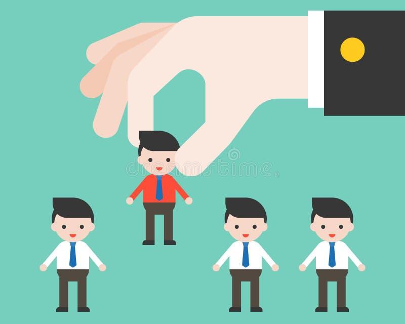 Ο μεγάλος ηγέτης μαζεύει με το χέρι τον εργαζόμενο, επίπεδο σχέδιο που επιλέγει τους ανθρώπους και το AP απεικόνιση αποθεμάτων