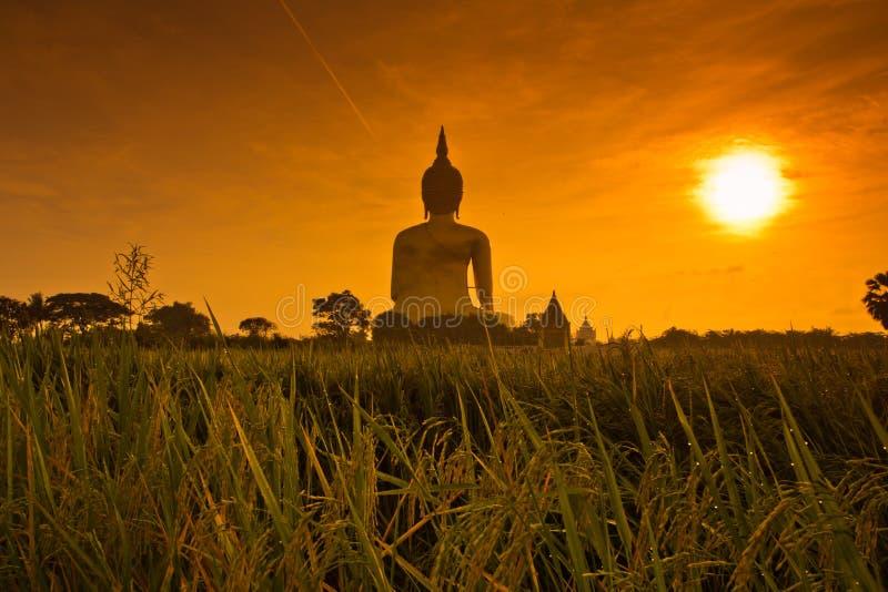 Ο μεγάλος Βούδας σε Wat Mung στο ηλιοβασίλεμα, Ταϊλάνδη στοκ εικόνες