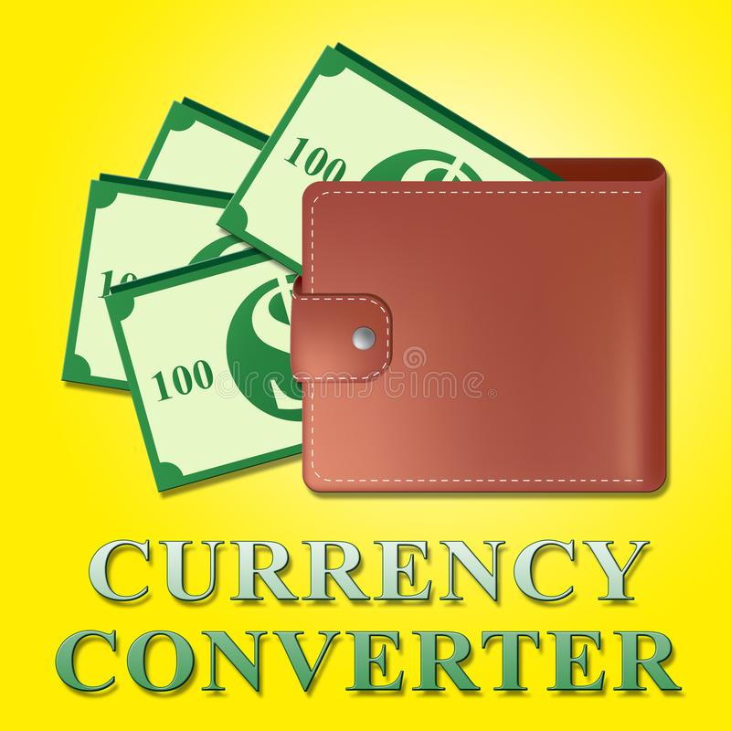 Ο μετατροπέας νομίσματος σημαίνει την τρισδιάστατη απεικόνιση ανταλλαγής χρημάτων διανυσματική απεικόνιση