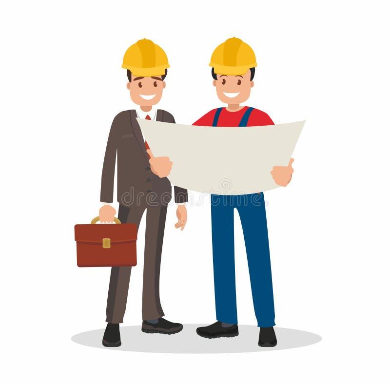 Ο μηχανικός και ο επιστάτης συζητούν το κτήριο σχεδίων ελεύθερη απεικόνιση δικαιώματος