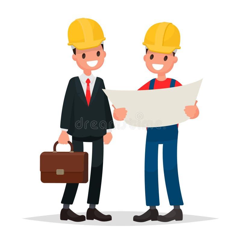 Ο μηχανικός και ο επιστάτης συζητούν το κτήριο σχεδίων Διανυσματικό Illustratio απεικόνιση αποθεμάτων