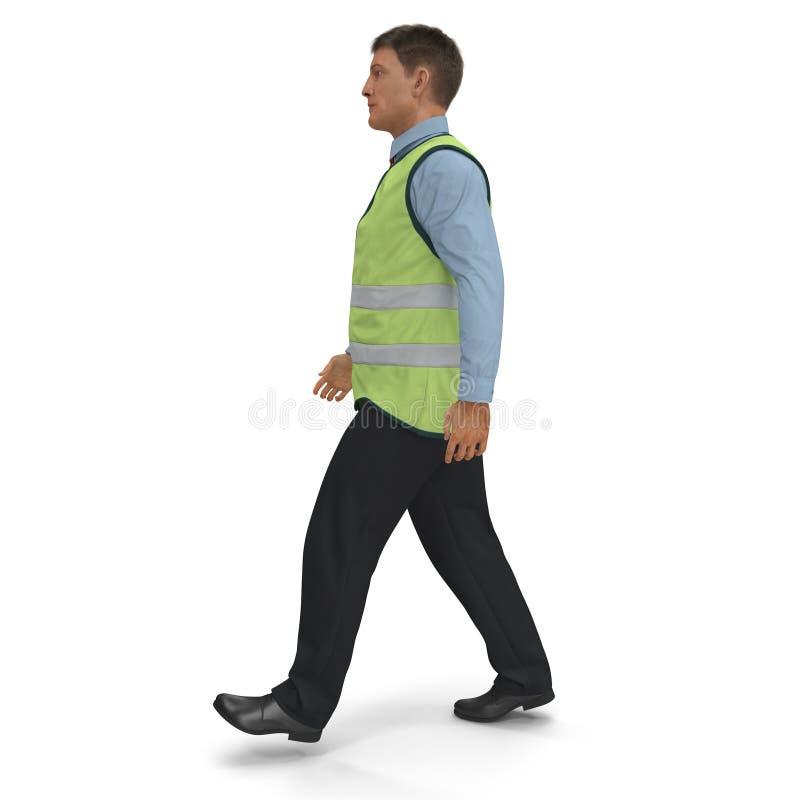 Ο μηχανικός λιμένων στο υψηλό σακάκι Visisbility που περπατά θέτει στο άσπρο υπόβαθρο τρισδιάστατη απεικόνιση ελεύθερη απεικόνιση δικαιώματος