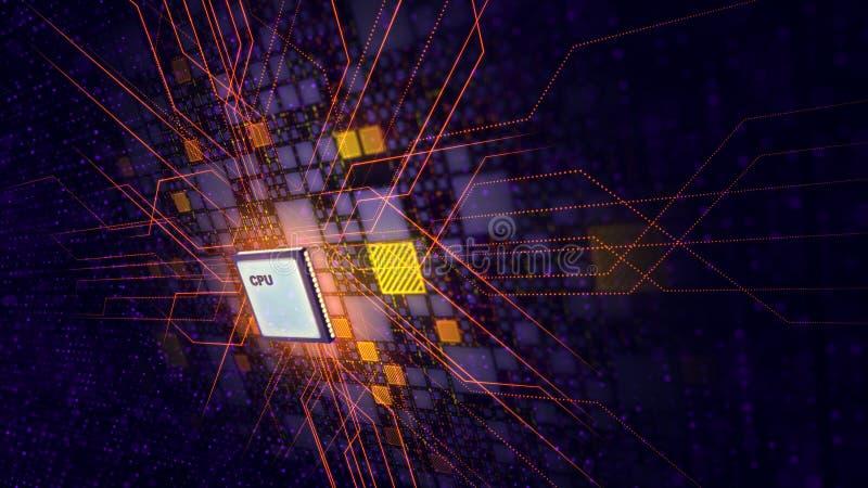 Ο μικροϋπολογιστής ΚΜΕ διαμορφώνει ένα παράθυρο στο ιώδες μέλλον ελεύθερη απεικόνιση δικαιώματος
