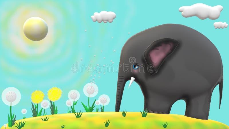 Ο μικρός λυπημένος ελέφαντας, λουλούδια με το μπλε, ηλιόλουστο υπόβαθρο διανυσματική απεικόνιση