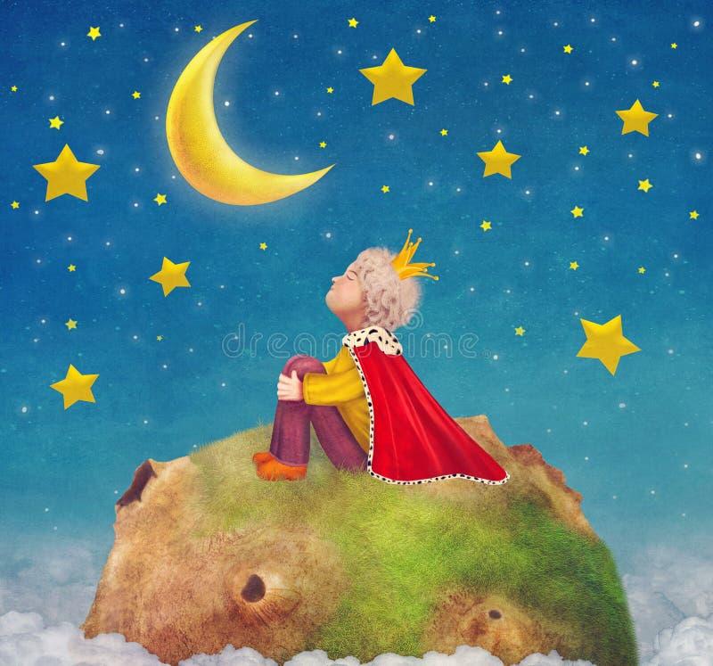 Ο μικρός πρίγκηπας σε έναν πλανήτη στον όμορφο νυχτερινό ουρανό διανυσματική απεικόνιση