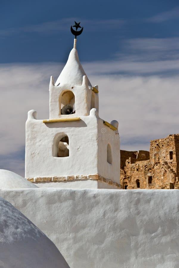 Ο μιναρές του μουσουλμανικού τεμένους Chenini, νότια Τυνησία στοκ εικόνα με δικαίωμα ελεύθερης χρήσης