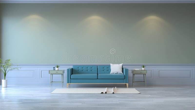 Ο μινιμαλιστικός εσωτερικός, μπλε καναπές δωματίων στο ξύλινο δάπεδο και ο πράσινος τοίχος το /3d δίνουν ελεύθερη απεικόνιση δικαιώματος