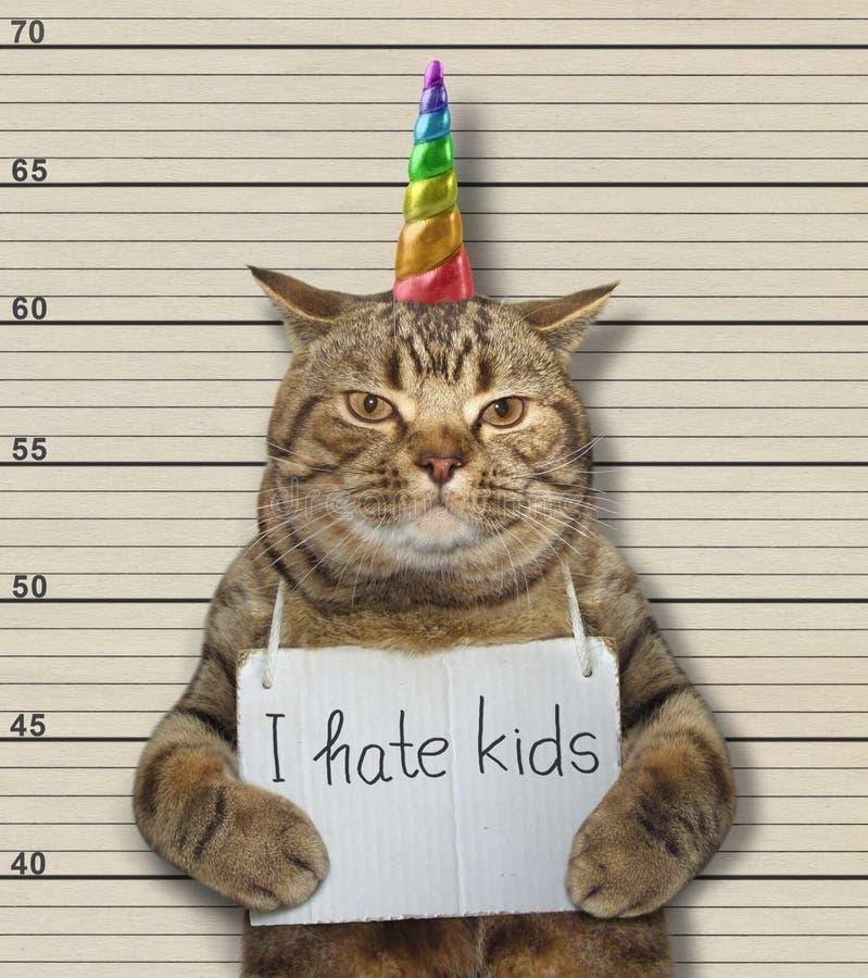 Ο μονόκερος γατών μισεί τα παιδιά στοκ εικόνες